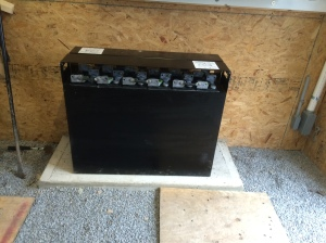 Solar batteries can be heavy - this one is 2200lbs